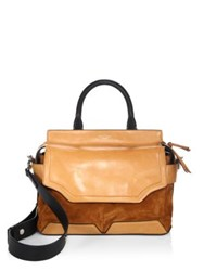 Rag And Bone Pilot Leather Suede Satchel Tan