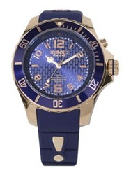 Kyboe Power Blue Silicone And Rose Goldtone Stainless Steel Strap Watch 48Mm