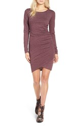 Leith Women's Ruched Long Sleeve Dress Burgundy Stem Heather
