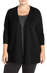 Plus Size Women's Sejour Wool And Cashmere Trapeze Cardigan Black