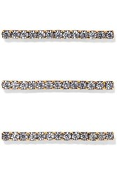 Jennifer Behr Fete Set Of Three Gold Tone Crystal Hair Pins One Size