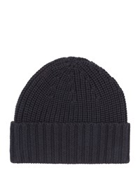 Jaeger Wool Knitted Beanie Navy