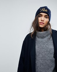 Polo Ralph Lauren Wool Beanie With Gold Logo Navy