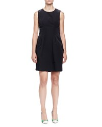 Lanvin Twisted Bow Back Pleated Dress Black