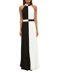 Ted Baker Color Block Pleated Maxi Dress Black
