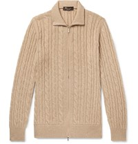 Loro Piana Suede Trimmed Cable Knit Baby Cashmere Zip Up Sweater Neutrals
