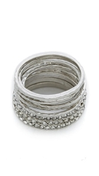 Jules Smith Designs Pave Wave Ring Set Silver Clear