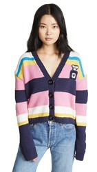 Michaela Buerger Striped Perfume Bottle Patch Cardigan Multi Stripe