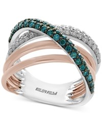 Effy Diamond 3 4 Ct. T.W. Crossover Ring In 14K White And Rose Gold Two Tone