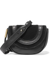 Diane Von Furstenberg Bullseye Mini Suede Paneled Leather Shoulder Bag Black