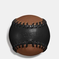 Coach Leather Baseball Paperweight In Glovetanned Leather Black