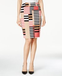 Nine West Printed Twill Pencil Skirt Coral Multi