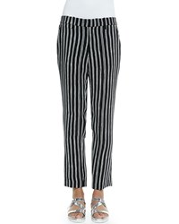 A.L.C. Levin Striped Ankle Pants Black White
