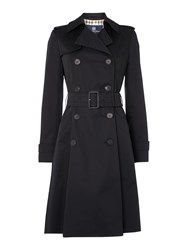 Aquascutum London Lana Double Breasted Raincoat Black