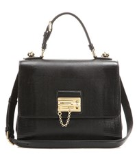 Dolce And Gabbana Monica Embossed Leather Shoulder Bag Black