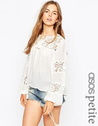 Asos Petite 70S Boho Blouse With Lace Insert White