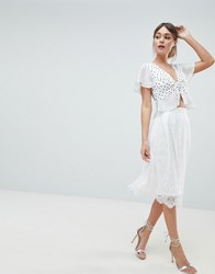 Liquorish Lace Prom Skirt White