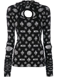 Ktz Logo Embroidered Hooded Top Women Spandex Elastane Rayon M Black