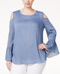 Ing Trendy Plus Size Cold Shoulder Chambray Top Denim Blue