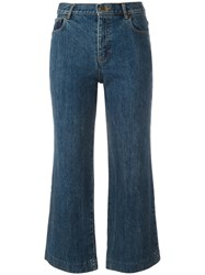 A.P.C. Flared Cropped Jeans Blue