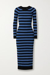 Michael Michael Kors Striped Stretch Knit Midi Dress Blue