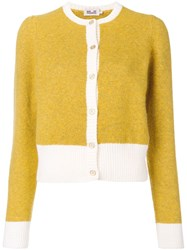 Baum Und Pferdgarten Contrast Trim Knitted Cardigan Yellow And Orange