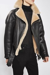 Topshop Shearling Aviator Jacket By Boutique Chocolate