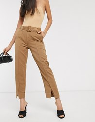 Maison Scotch Tailored Belted Chino Trousers Brown