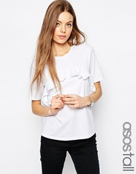 Asos Tall T Shirt With Ruffle Front White
