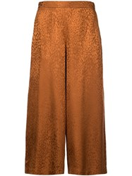 A.L.C. Animal Print Cropped Trousers Brown