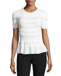 Narciso Rodriguez Stripe Knit Peplum Top White
