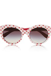Dolce And Gabbana Cat Eye Polka Dot Acetate Sunglasses White