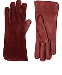Barneys New York Women's Suede Gloves Burgundy