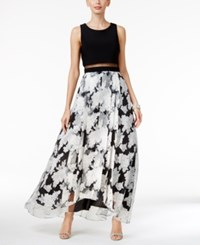 Betsy And Adam Illusion Popover Floral Print Gown Black White