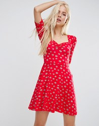 Asos Sweetheart Skater Dress In Red Daisy Print Multi