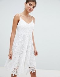Jessica Wright Lace Skater Dress Cream