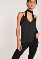 Missguided Neck Scarf Cami Top Black Black