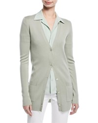 Ralph Lauren Button Front V Neck Wool Silk Cardigan Light Green
