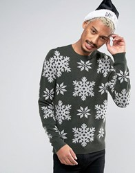 Asos Lambswool Rich Jumper With Snowflakes Green