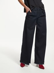 And Or Pleat Front Wide Leg Jeans Ink Blue