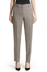 Armani Collezioni Women's Herringbone Slim Pants Beige Multi