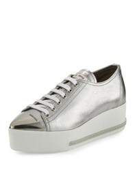 Miu Miu Metallic Leather Cap Toe Sneaker Silver Gray