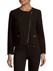 Sandro Vanity Asymmetrical Leather Jacket Black