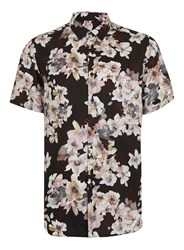 Topman Black And Pink Flower Print Short Sleeve Casual Shirt