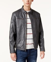 Kenneth Cole Men's Marbleized Faux Leather Moto Jacket Coal