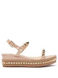 Christian Louboutin Cataclou 60 Leather Flatform Espadrille Sandals Nude Gold