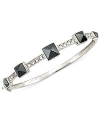 Sis By Simone I Smith White Crystal And Jet Pyramid Stud Bangle Bracelet In Platinum Over Sterling Silver