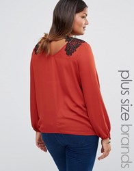 Lovedrobe Luxe Wrap Back Lace Shoulder Top Copper