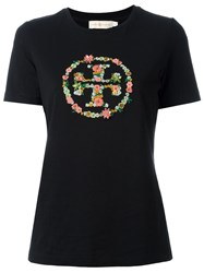 Tory Burch Embroidered Logo T Shirt Black