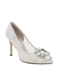 Nina Rhodes Embellished Lace Pumps Ivory